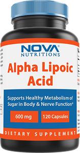 Nova Nutritions Alpha Lipoic Acid ALA 600 mg (Non-GMO) 120 Capsules