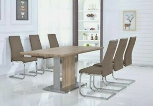 Dining Kitchen Table Natural Oak Effect Top Cappuccino Leather Chairs