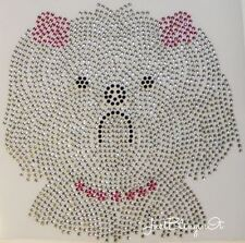Maltese Dog with Bows Hot Fix Iron On Rhinestone Transfer Bling MADE IN USA