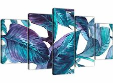 XL Turquoise and White Tropical Leaves Canvas Art Prints - Multi 5 Panel - 5323