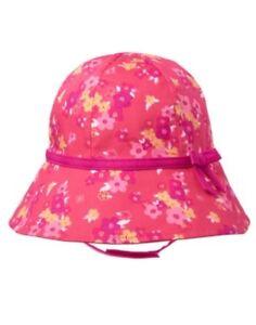 GYMBOREE SWIM SHOP PINK w/ FLOWERS PRINTED BUCKET SUN HAT 0 12 24 NWT