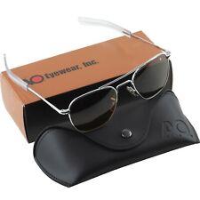 AO American Optical Aviator Silver Frames 52 mm Sunglasses Cosmentan Glass