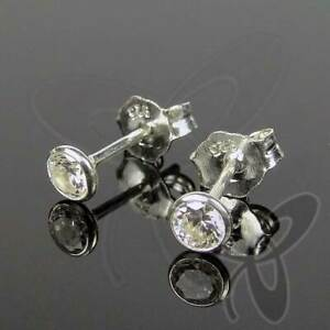 SET 3 PAAR 925 Silber Ohrstecker weiß 2,5mm +3,0mm +3,5mm Solitär Ohrringe NEU