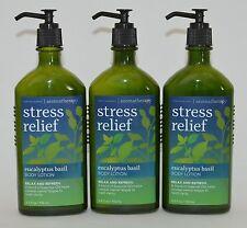 3 BATH BODY WORKS AROMATHERAPY STRESS RELIEF EUCALYPTUS BASIL LOTION PUMP CREAM