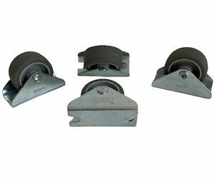 Pack of 4pcs - 32mm Small Fixed Castor, Grey Rubber Tread