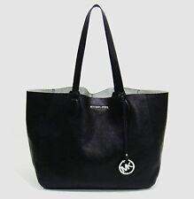 Michael Kors Mae Black & Silver Leather Reversible East/West Tote Bag