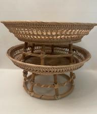 Vintage Thai Handicraft Wicker Crafts Rattan Food Fruit Vanity Tray Hight Foot
