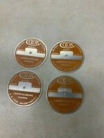 """Lot of 4 Vintage Cook Water System Aluminum Tags - Lawrenceburg Indiana - 2"""""""