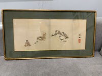 Antique Japanese School Painting of Children Learning / Practicing Calligraphy