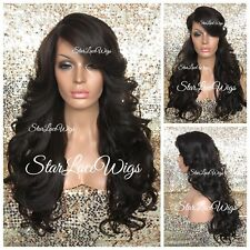 Lace Front Wig Curly Bangs Layers Off Black #1b Heat Safe Ok Wigs For Women