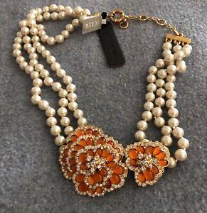 New J.Crew Floral Chunky Statement  Triple  Strand Pearl w/ Orange Floral Motifs