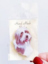 Handmade Badge Bearded Collie Dog Pin Brooch Lark Rise Designs New England