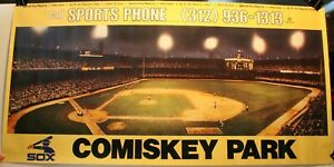 """Rare Vintage Comiskey Park Sports Phone Chicago White Sox 18 x 36"""" Poster"""