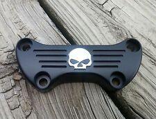 Black with Chrome Skull Dog Bone Handlebar Clamp Harley Davidson