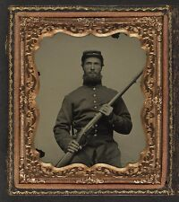 Photo Civil War Union Soldier In Uniform With Musket