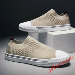 Mens Fashion Breathable Knitted Sport Walking Shoes Slip On Casual Sneakers Size