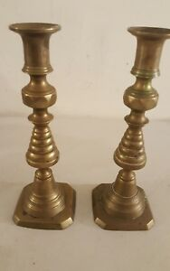 Antique Pair Brass Victorian Push Up Candlesticks Candle Holders Signed England