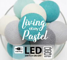 LED418 BATTERY/USB COTTON BALL STRING LIGHTS IVORY GREY & SEA TONE Bedroom