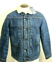 Levis Mens Made & Crafted Type II Sherpa Lined Denim Trucker Jacket Blue NWT