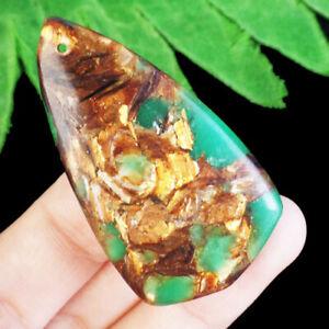 F29979 Green Jade Gold Copper Bornite Shield Pendant Bead 50x28x8mm