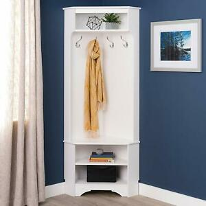 White Finish Wooden Corner Hall Tree Coat Rack Hat 4 Hooks Storage Stand Bench