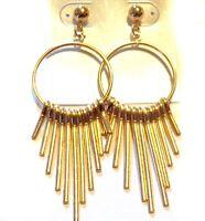 DROP HOOP EARRINGS GOLD OR SILVER TONE DANGLE EARRINGS 3 INCH LONG