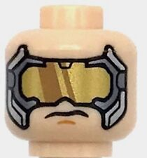 Lego New Light Flesh Minifig Head Glasses with Gold Dark Bluish Gray and Silver