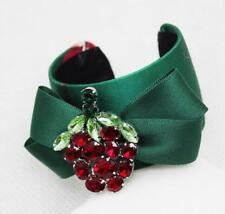 New Charming Vintage Baroque Red Green Cubic Zirconia Green Ribbon Bracelet Cuff