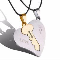 Ti amo coppia amante Matching Key cuore collane in acciaio inox ciondolo