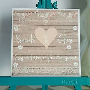 PERSONALISED Handmade Vintage Shabby Chic Style Engagement Card