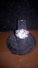 Stunning Silver Tone Diamond Rhinestone Statement Ring, Fashion Jewelry, Size 7