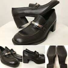 Tommy Hilfiger Block Heel Loafer Leather Shoes Women's Size 8.5 Spell Out Tab