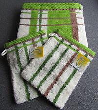3 teilig Handtuch & 2x Waschhandschuh Waschlappen  gestreift NEU OVP