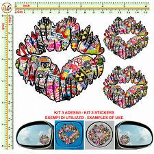 Adesivi labbra serbatoio sticker bomb lips mirror stylized tuning helmet 3 pz