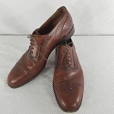 Salvatore Ferragamo Brown Oxford Cap Toe Shoes Size 10.5 Wing Tip Italy