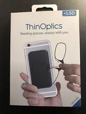 ThinOPTICS Keychain Reading Glasses, Black Frame, 1.50 Strength - KC1.5B