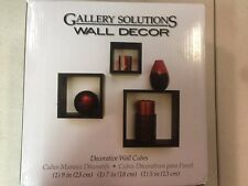 Gallery Solutions Decorative Wall Cubes Nested Shelves, Black Set of 3