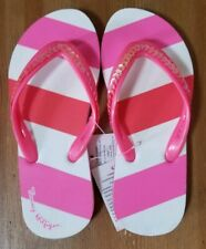 Tommy Hilfiger Girls' Sequin Zori Flip Flops Petal Pink/Hot Coral Size 12/13 NEW