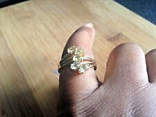 Canary Apatite Sterling silver and gold cross over ring size O