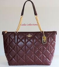 NEW COACH Quilted Leather Ava Chain Tote- Handbag/Purse-F36661-Gold/Oxblood 1