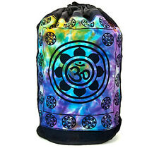 LOTUS Flower OM Aum Symbol Yoga Chakra INDIA Tie Dye BACKPACK Hippie Book BAG