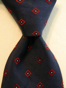 MASSIMO DUTTI Men's 100% Silk Necktie ITALY Luxury Geometric Blue/Red/White EUC