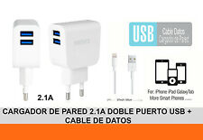 Cargador de Red 2.1A Doble Puerto USB + Cable de Datos MicroUSB V8 para Android