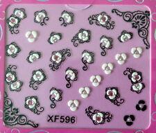 Nail art stickers bijoux d'ongles: fleurs design et arabesques - strass