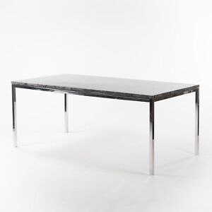 2011 Cumberland Gray Marble Meeting Dining Table Desk w/ Stainless Base Knoll