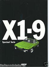 FIAT X1-9 X19 X1/9 speciaal SERIE BROCHURE ORIGINALE 1974 mercato belga