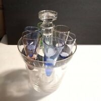 Clear glass decanter set ice bucket decanter 6 Colored shot glasses Vtg?
