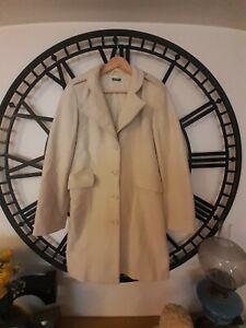 Ladies UNITED COLORS OF BENETTON Wool Cream Coat Jacket Size M
