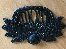 Ancienne broderie application en perles de Jais