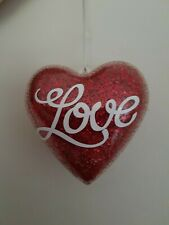 Handmade hanging heart plastic red glitter love pretty decoration 3D double side